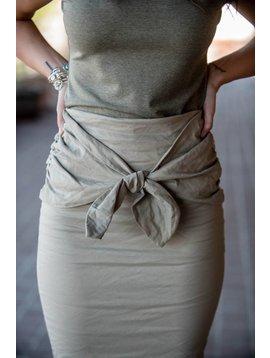 Nicole Miller Tie Front Skirt Khaki