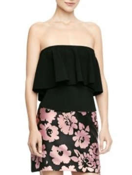 MILLY Ruffle Strapless Top