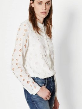 Equipment Bright White Henri Collarless Silk Shirt