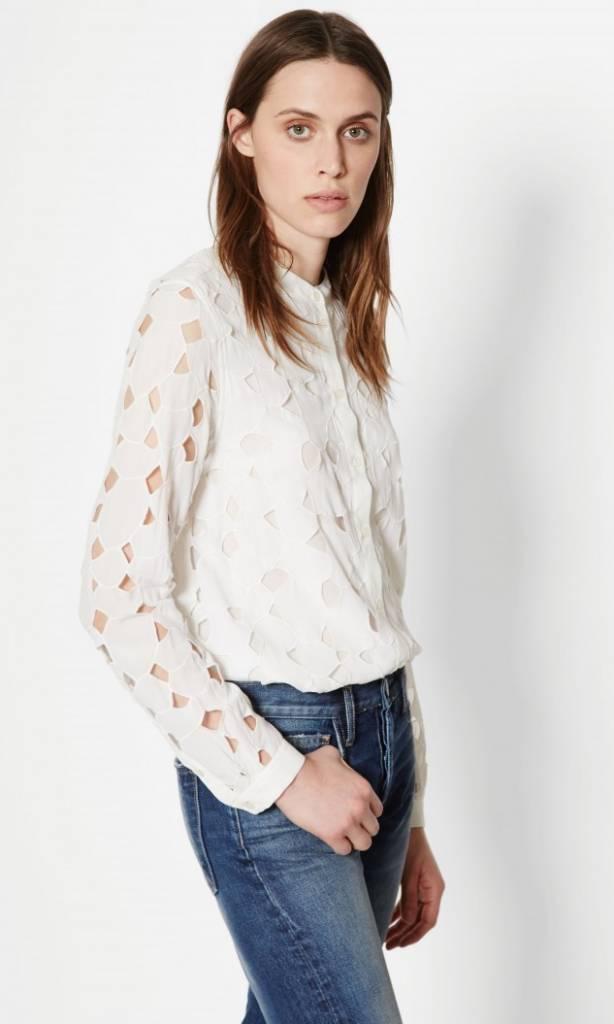 Equipment Bright White Henri Collarless Silk Shirt