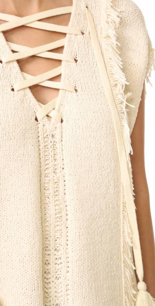 Pam & Gela Fringe Baja Sweater