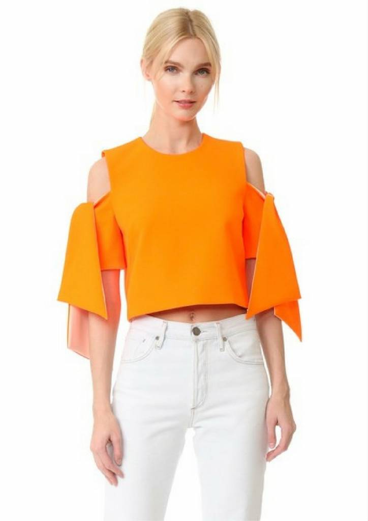 MILLY Cropped Ansley Top Orange