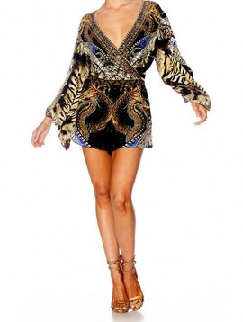 Camilla Kimono Sleeve Playsuit in Dragon Lady