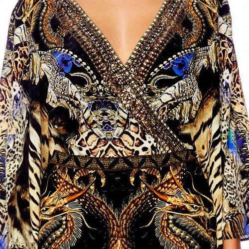 Camilla Kimono Sleeve Playsuit in Dragon Lady