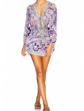 Camilla Lace Up Blouse in Still Life