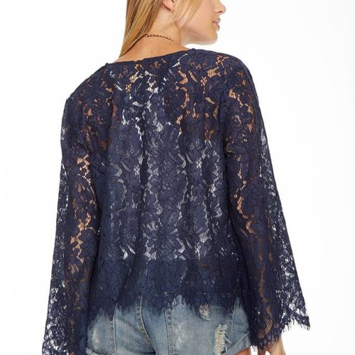 Chaser Lace Bell Sleeve Open Front Jacket