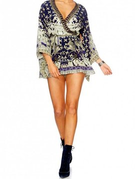 Camilla Kimono Sleeve Playsuit in A Little Past Twilight XS