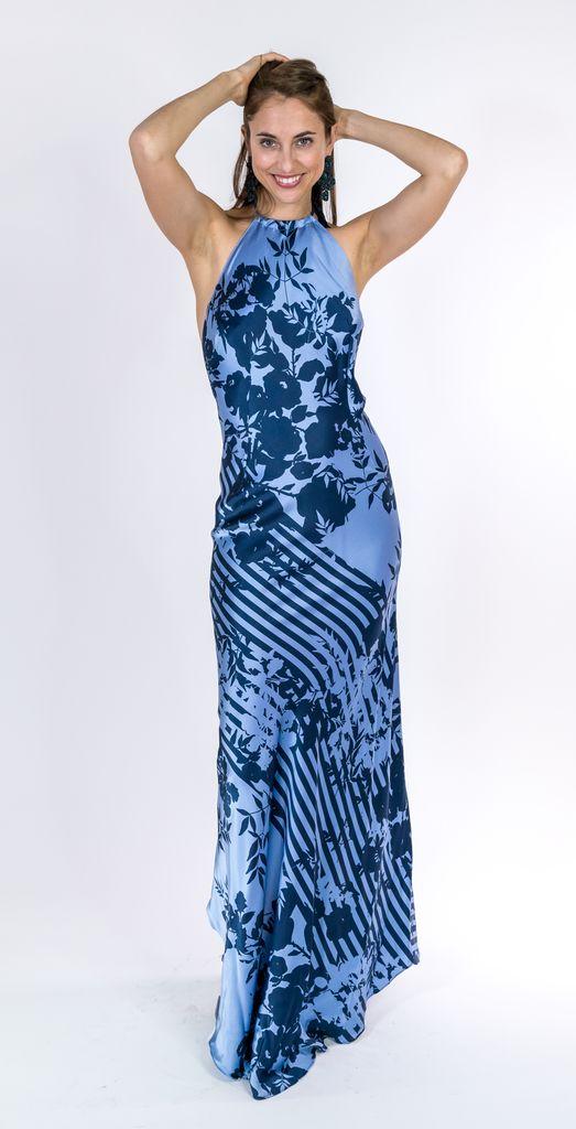 Trisha Paterson Blue Rose Long Dress