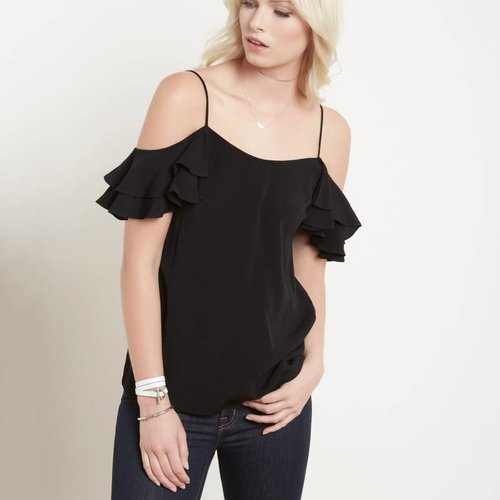 FIFTEEN-TWENTY Ruffle Cold Shoulder Tank