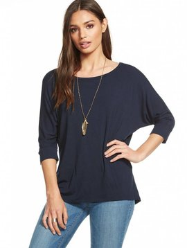 Chaser Cool Jersey Cut Out Draped Dolman in Canopy