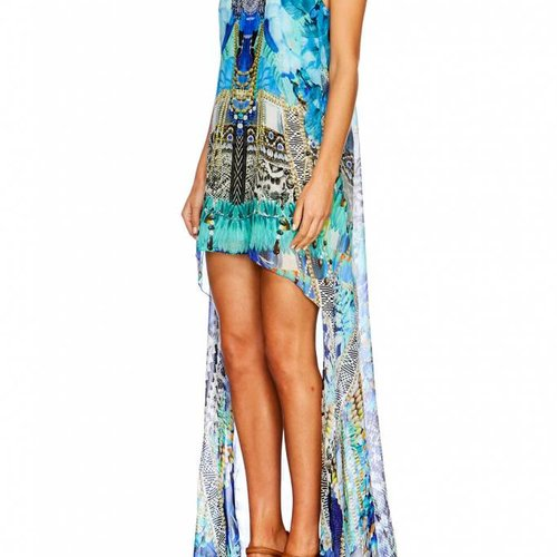 Camilla Short Sheer Overlay Dress in Leave Me Wild