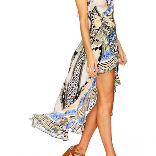 Camilla Long Wrap Dress W/ Frill