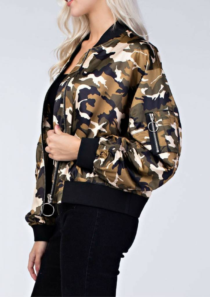 honey punch Camo Bomber Jacket With Zipper Detail