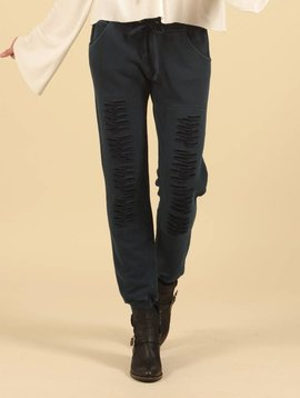 Charcoal Washed Ripped Sweatpants in CHARCOAL