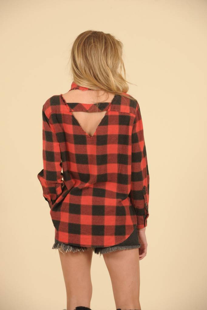 RED PLAID CUTOUT NECK