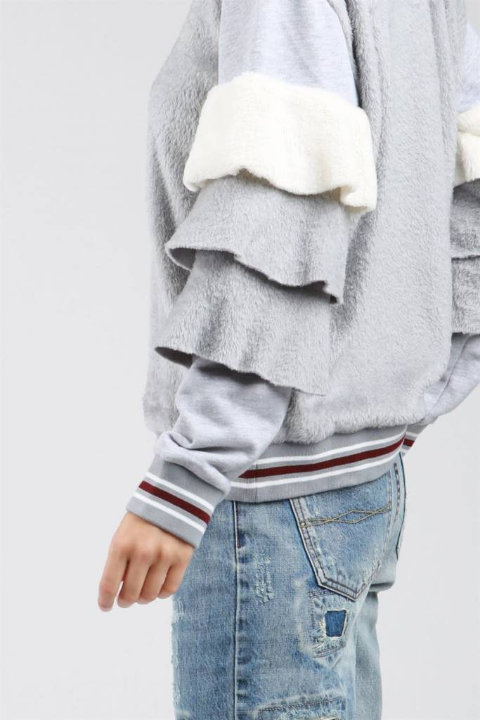 POL Clothing Crew Neck Sweatshirt with Contrast Tiered Ruffle