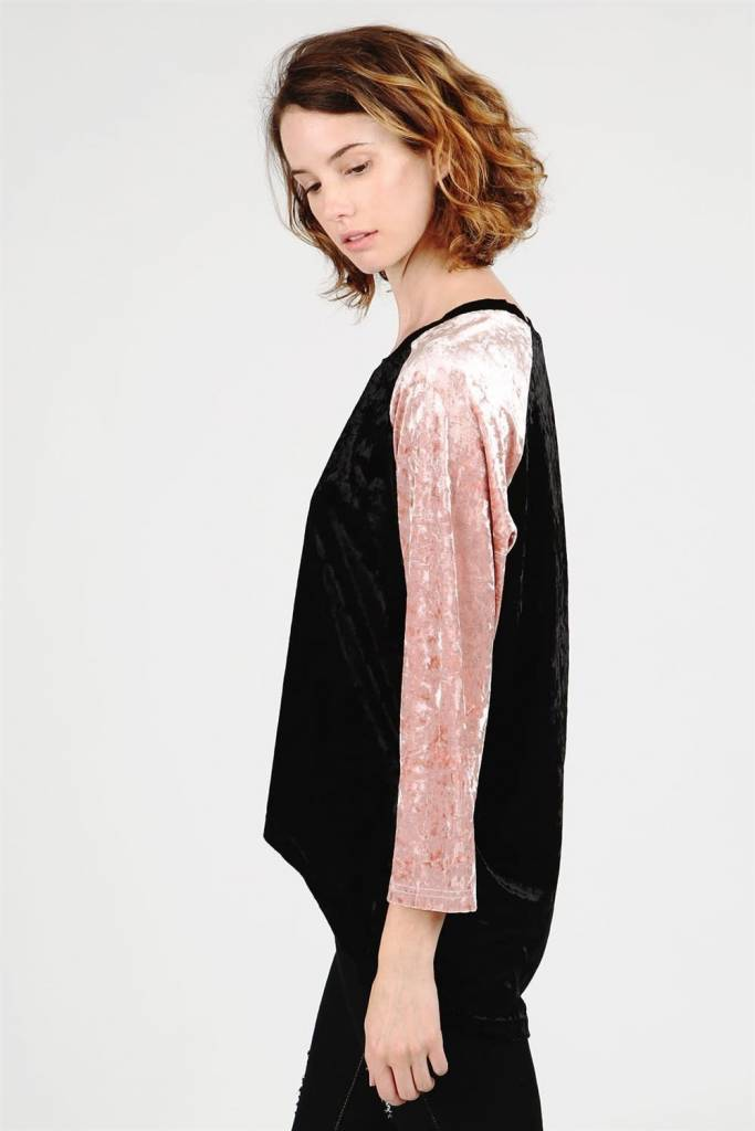 POL Clothing Varsity Stripe Crushed Velvet Raglan Top