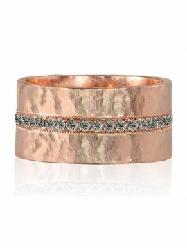 Julez Bryant RANI WIDE HEAVY HAMMERED BAND WITH PAVED CENTER STRIPE