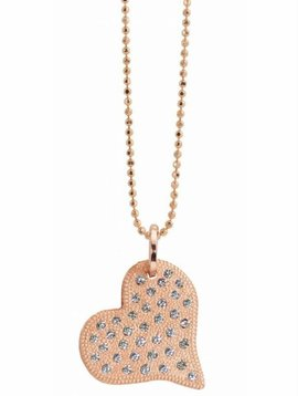 Julez Bryant Medium Paved Heart Pendant w Bed Finish