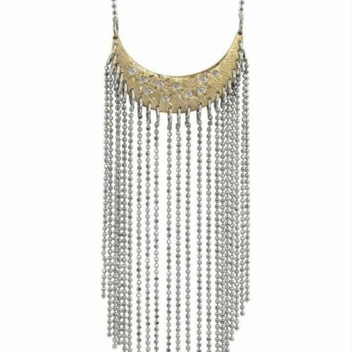 Julez Bryant Fringed moon Pendant With Scattered Diamonds