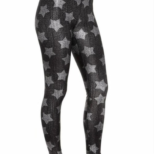 Terez Black Denim Star Leggings