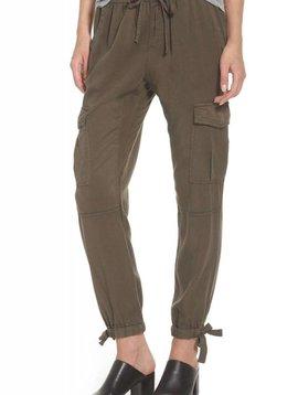 Pam & Gela Ankle-Tie Tencel Pant in Loden