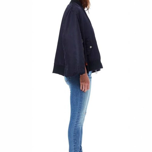 Hudson Foxtrot Cape Bomber Jacket in Navy Luster