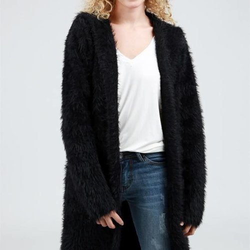 POL Clothing Long Open Front Mohair Hooded Sweater Cardigan w Side Pockets