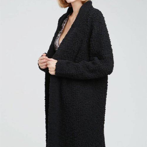 POL Clothing Alpaca Knit Open Front Tunic Cardigan