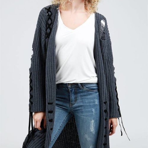 POL Clothing Long Open Front Chenille Cardigan W Velvet Lace Up Detail
