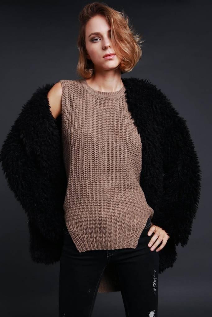 POL Clothing Longline Shaggy Coat