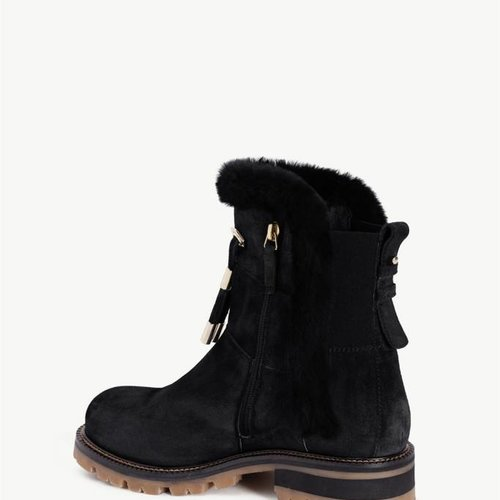 Twin Set Nero Shearling Leather Biker Boots