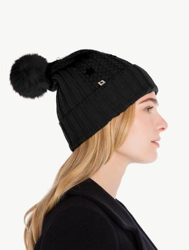 Twin Set Nero Embroidered Beanie Hat