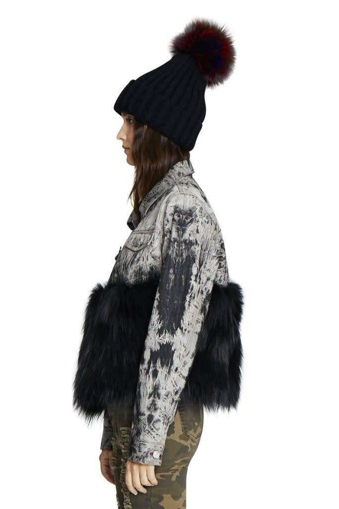 Jocelyn Hat with Multi Fox Pom