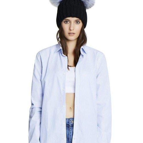 Jocelyn Knit Hat w/ Double Silver Fox Poms