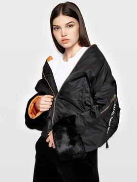 Pam & Gela Boyfriend Bomber w/ Fur Cuffs