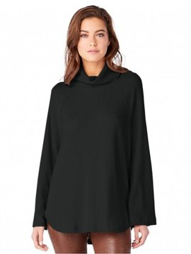 Michael Stars Turtleneck Raglan Top in Black