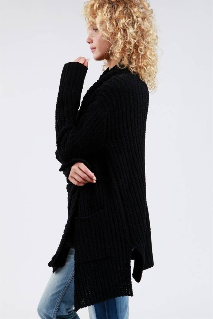 POL Clothing Wide Shawl Collar Cardigan in Black