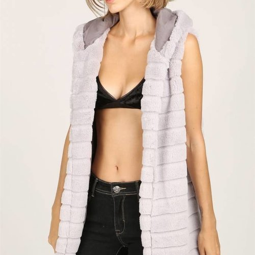 POL Clothing Quilted Faux Fur Vest w Hoodie