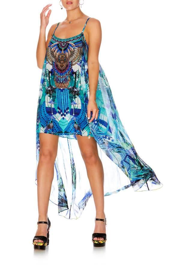 Camilla Mini Dress with Long Overlay in Amazon Azure