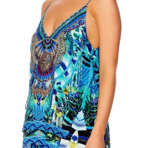 Camilla Multi Layer V Neck Top in Amazon Azure