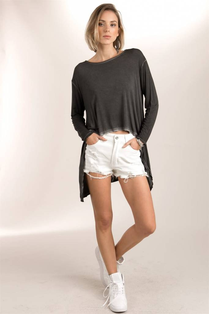 POL Clothing Boat Neck High Low Casual Top