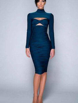 hamel Petrol Blue Midi Dress