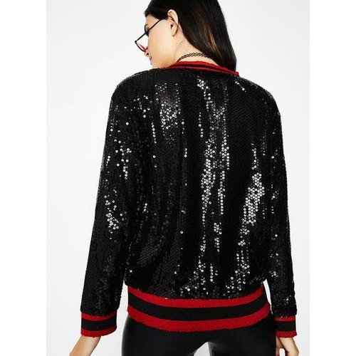 honey punch Sequin Long Sleeve Top With Athletic Ribbing