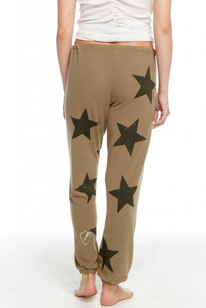 Chaser Love Knit Drawstring Slouchy Star Pant in Earth