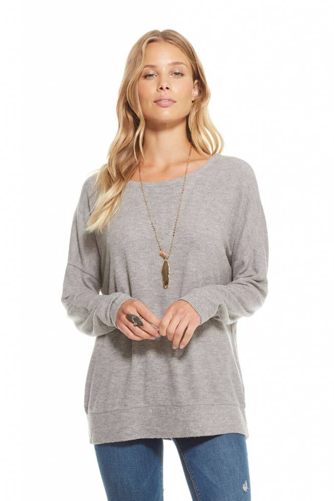 Chaser Love Knit Lace Up Back L/S Drop Shoulder Pullover in Heather Grey