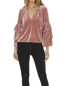 MISA Harlow 3 Layer Ruffle Sleeve Peasant Top