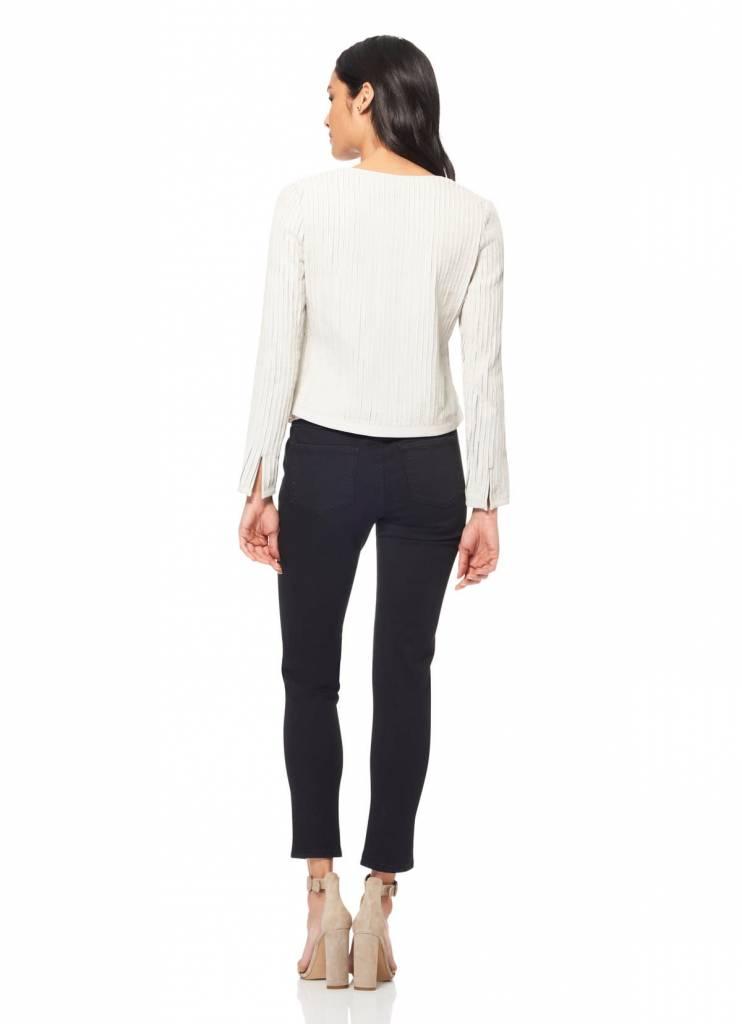 ECRU Leather Strips Jacket in White