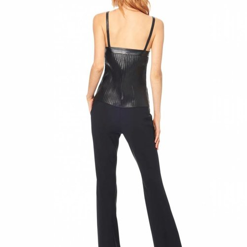 ECRU Leather Strips Cami in Black