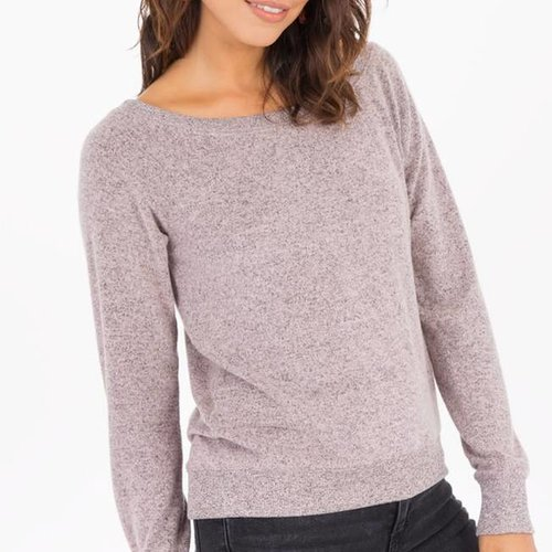 Z SUPPLY The Marled Off Shoulder in Silver Pink